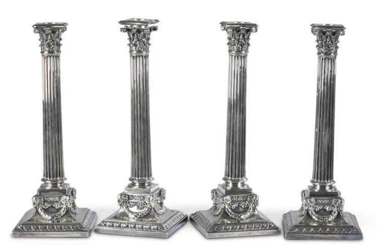 Four Victorian silverplate candlesticks, elkington & co., 1896