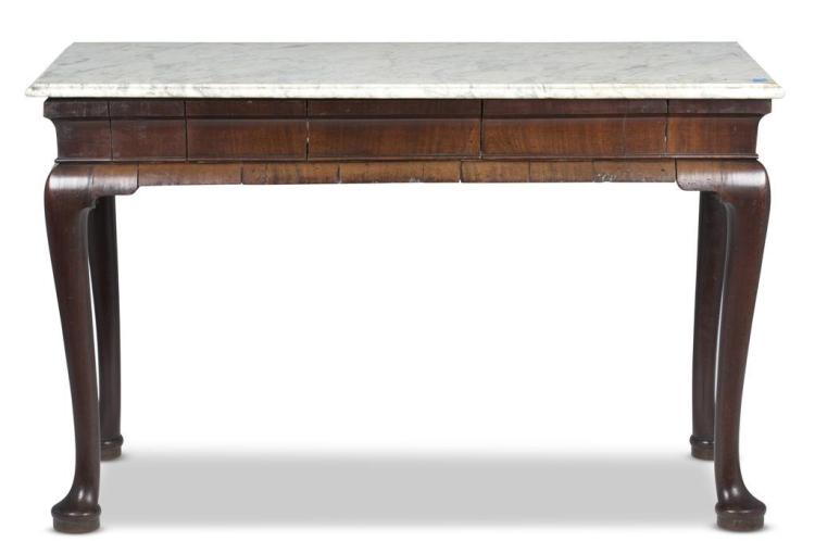 A Queen Anne walnut console table, 18th century