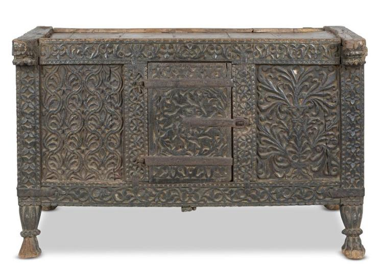 A carved paneled chest, continental, 17th century