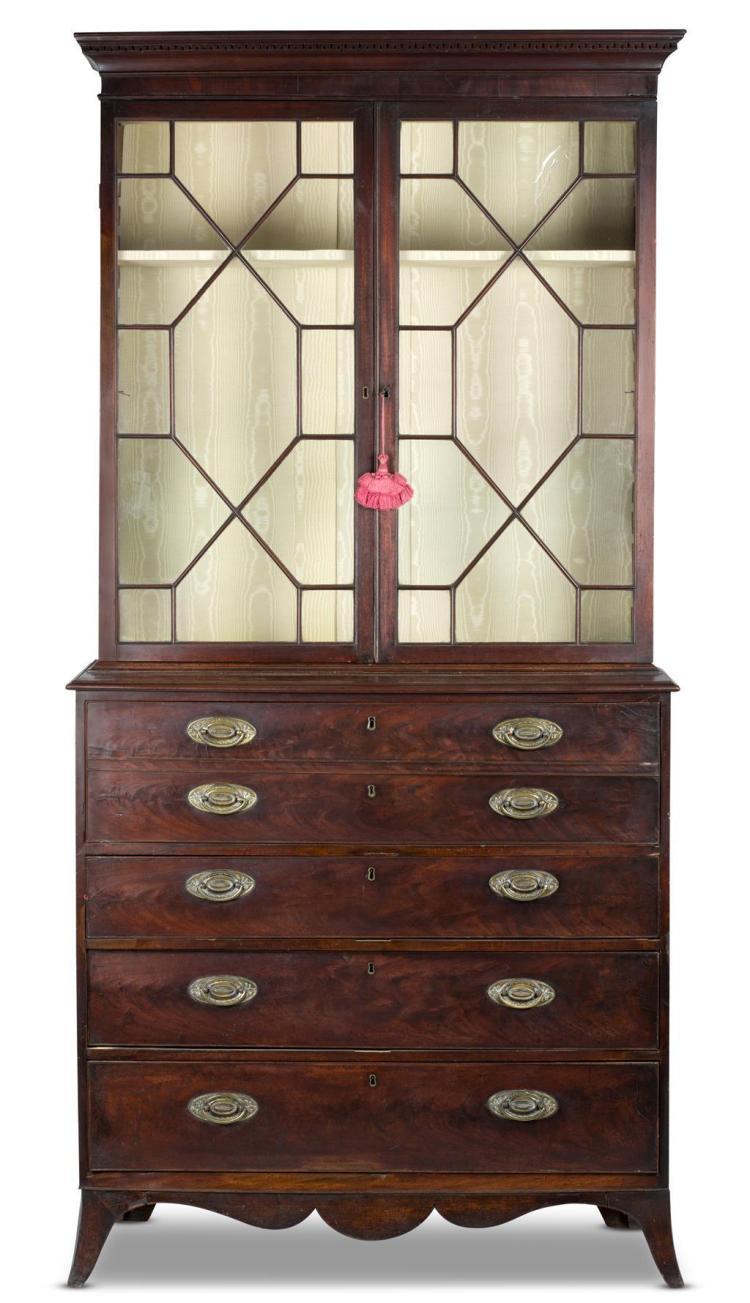 A regency mahogany secretary bookcase, english, 19th century