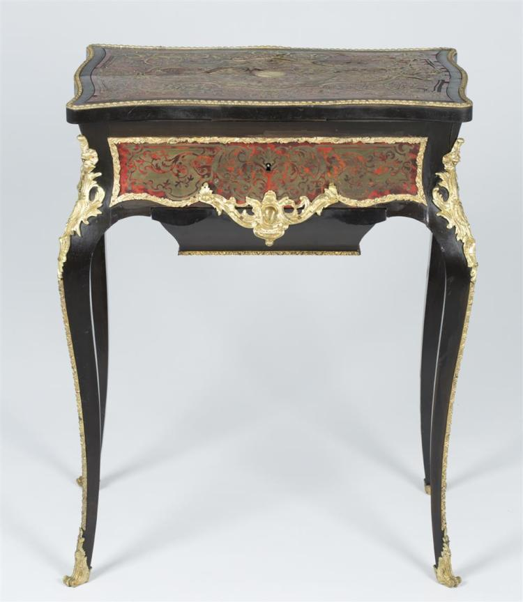 A Napoleon III boulle marquetry ebonized sewing table, french, 19th century