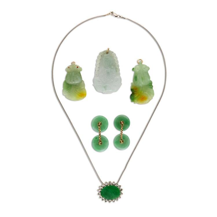A collection of jadeite, diamond and gold jewelry,