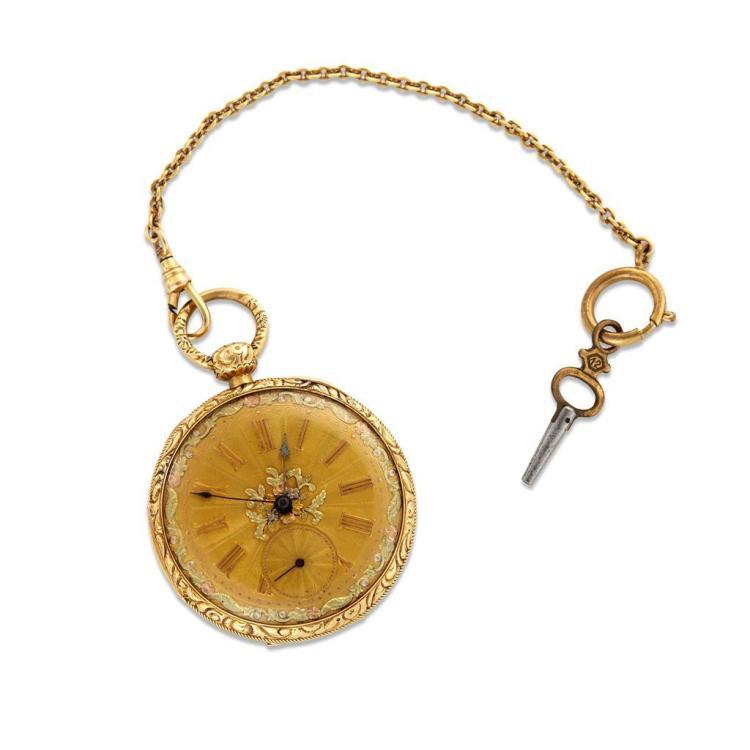 An eighteen karat gold pocket watch with chain, M.J. Tobias, london