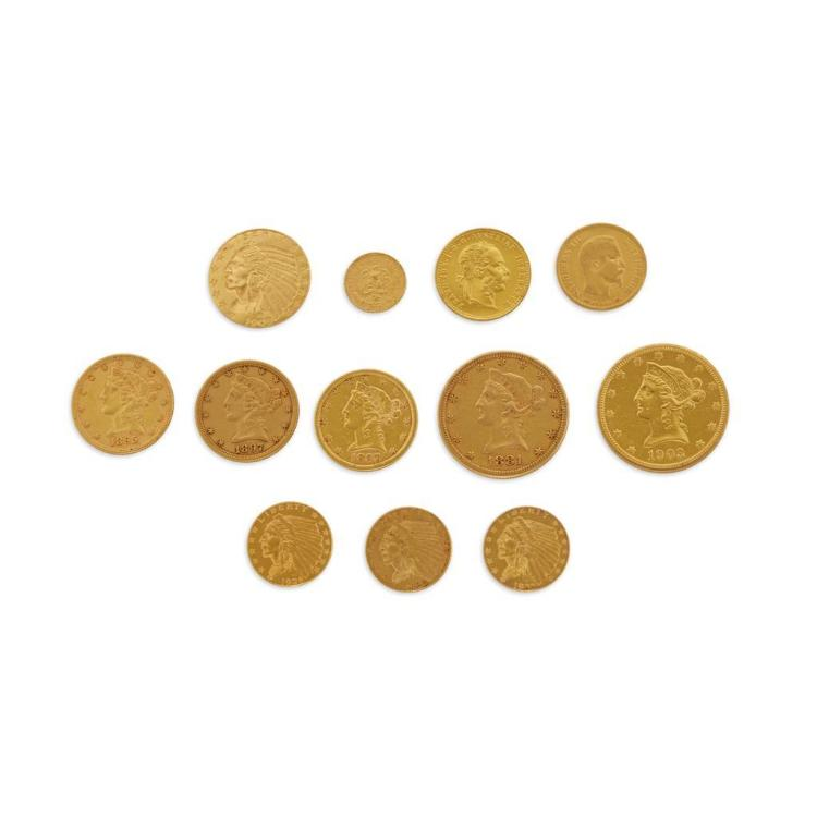 A collection of seventeen American gold coins and three foreign gold coins,