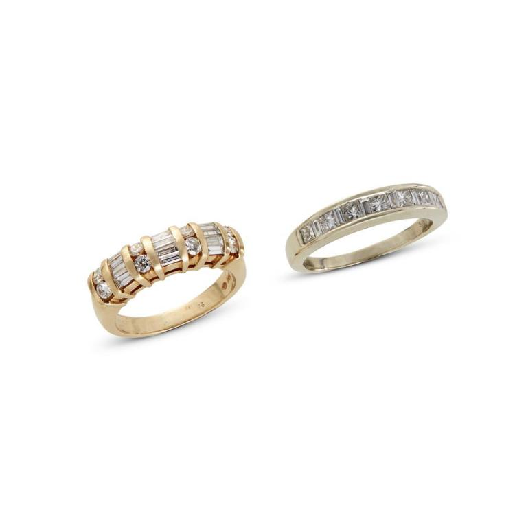 A collection of two diamond and gold bands,