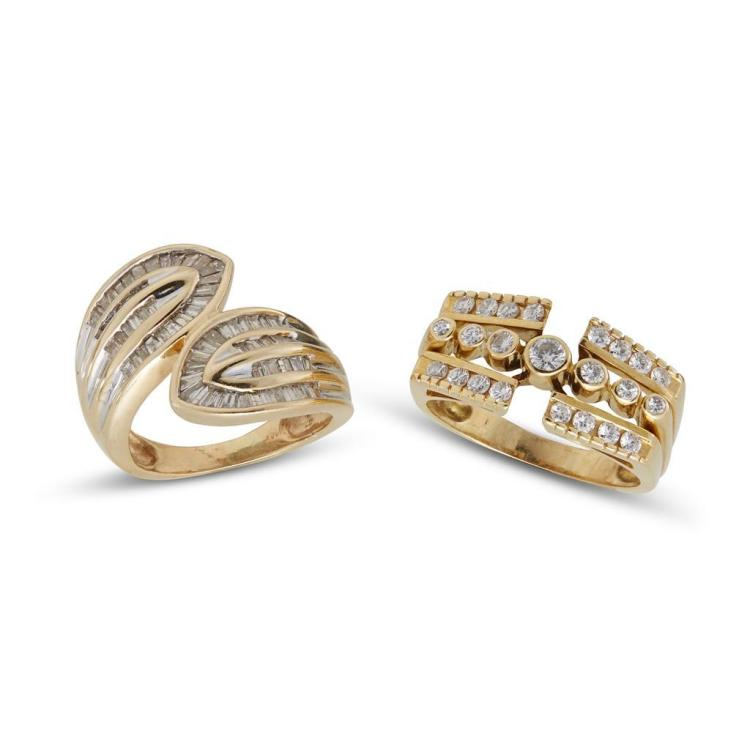 A collection of two diamond and gold rings,