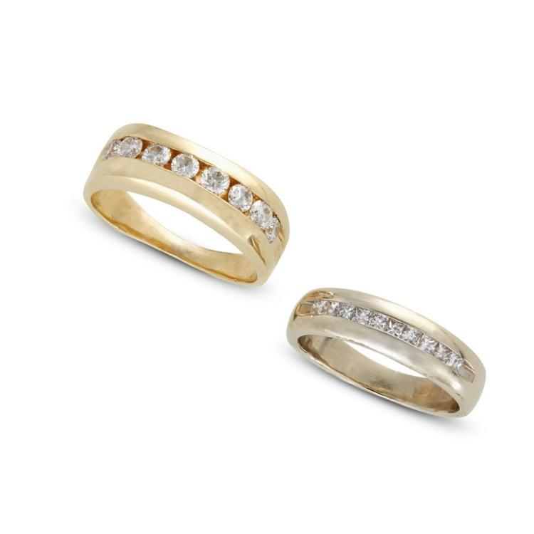 A collection diamond and gold bands,