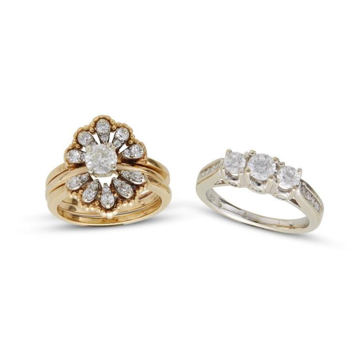 A collection diamond and gold rings,