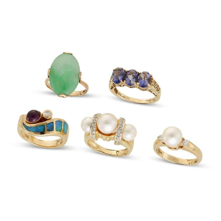 A collection of gemset, diamond and gold rings,