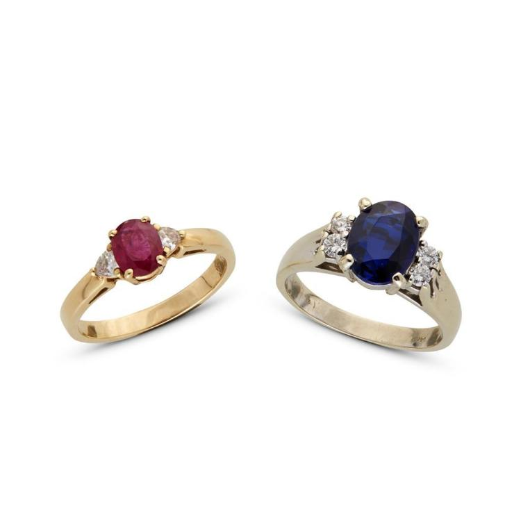 A collection of ruby, synthetic sapphire, diamond and gold ring,