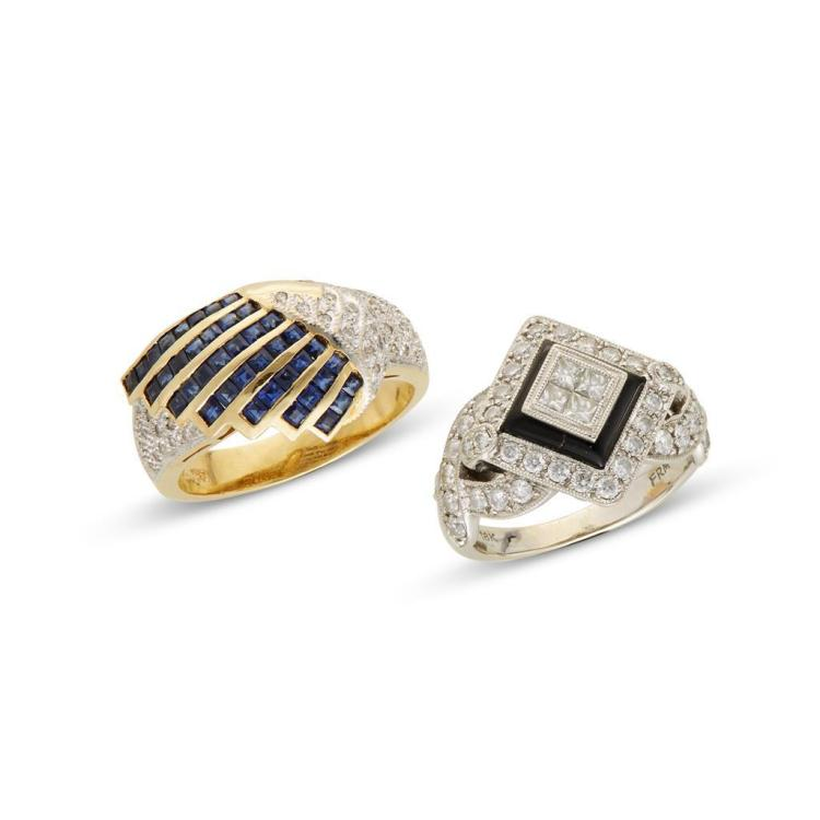 A collection of diamond, sapphire, black onyx and gold rings,