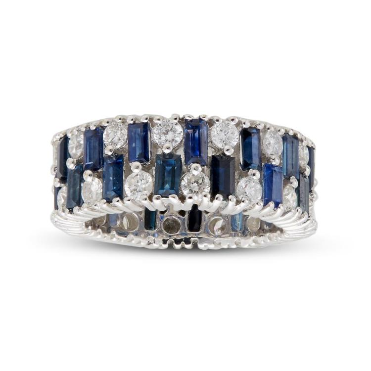 A sapphire, diamond and white gold ring,