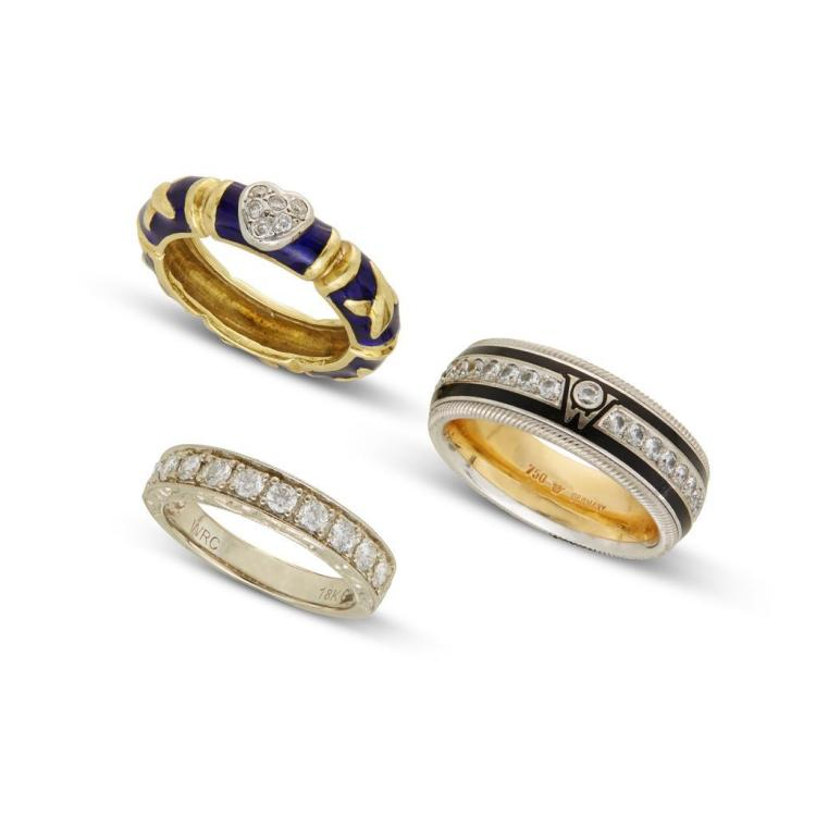 A collection of diamond, enamel and gold bands,
