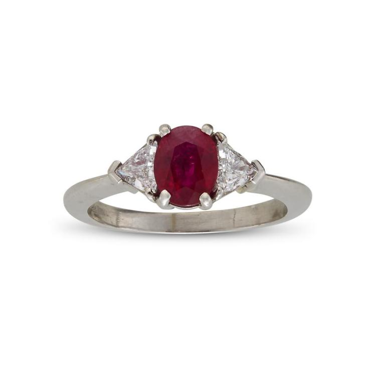 A ruby, diamond and platinum ring,