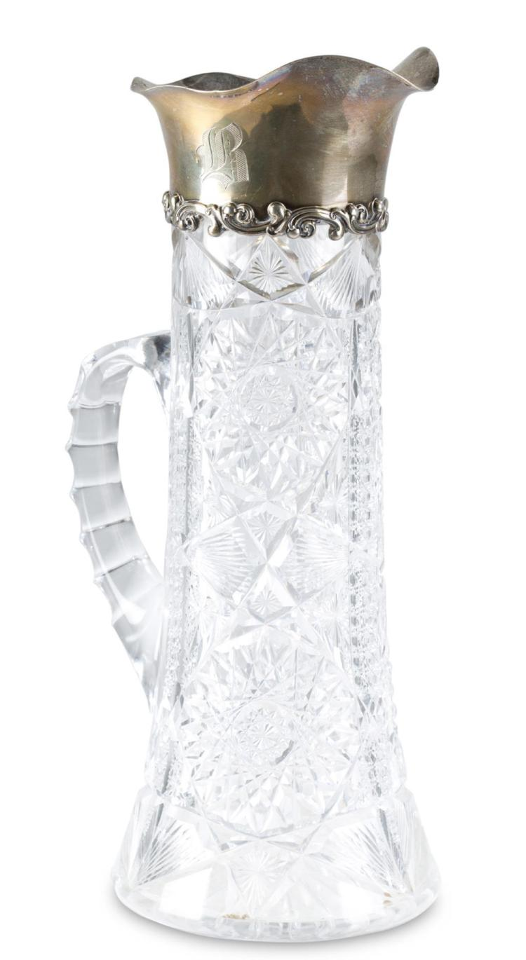 A sterling silver and cut crystal pitcher, gorham manufacturing co., providence, ri, circa 1900