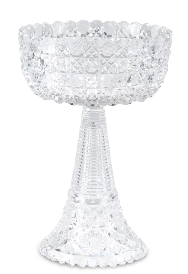 An American Brilliant cut crystal bowl on stand, early 20th century
