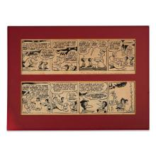 (Comic Art) 2 Pieces. Original Pen and Ink and Wash Drawings. (Cartoon Art.) Kelly, Walt. Four panel Pogo Strips. 1956. Each approxi...