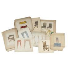 (Fashion) Lot. Original Wash and Pencil Drawings. Champman Dec. Co. Philadelphia, ca 1920. Designs for furniture (chairs, tables), l...