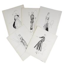(Fashion) 18 Pieces. Original Women''s Fashion Drawings. [United States], 1949-1950. Pen and ink and graphite drawings on heavy paper..