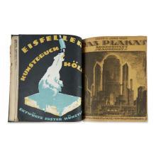 (Graphic Art) 6 Vols. German Art Nouveau Poster and Book Arts. Illustrated Periodicals: Das Plakat. Berlin, 1913, 1918-1921, Vol. 4,...
