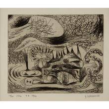 (Modern Original Artwork) 2 pieces. Kamrowski, Gerome. (Untitled). Biomorphic Surrealist etchings. 1996 (after 1944). Signed, dated,...