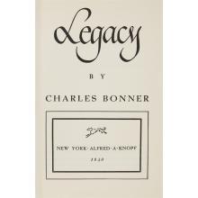 (Performing Arts & Music) 1 Vol. (Ingrid Bergman, et al.) Bonner, Charles. Legacy. New York: Knopf, 1940. First edition. 8vo, origin...