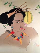 (Graphic Art) 2 Pieces. Color Woodblock Prints. Jacoulet, Paul.