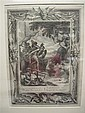 3 pieces.  Continental Etchings & Engravings - 16th -18th centurys: Dutch? Old Master etching of genre group. 6 x 7 1/2 inch...