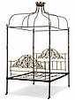 French wrought iron and brass canopy bed, late 19th century,