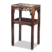 A Chinese Marble Inset Carved Hardwood Side Table ,