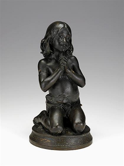 Jean-Auguste Dampt French bronze young girl