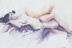 EARL HORTER (American 1881-1940) RECLINING FEMALE NUDE