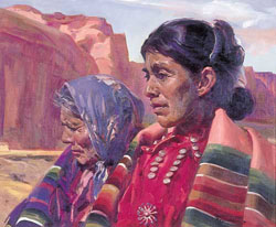 Proceeds to benefit the American Red Cross. BETTINA STEINKE (American b. 1913) 'NAVAJO MOTHER AND DAUGHTER'