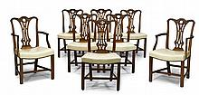 Set of eight George III style mahogany dining chairs, late 19th/early 20th century, Comprising two armchairs and six side chairs, each