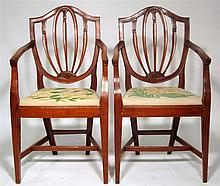 Set of four Sheraton style maple armchairs, , The shield form back over needlework drop-in seat, above fluted tapering legs joined by H