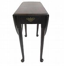 George III mahogany gateleg table, 18th century with alterations, The rectangular top with drop down sides, raised on tapering cylindri