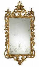 George III giltwood mirror, late 18th century, The rectangular mirror plate enclosed within a C-scroll, acanthus leaf, and foliate carv