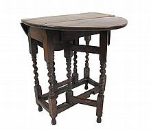 William and Mary oak gateleg table, late 17th/early 18th century, The rectangular top with two D-shaped drop leafs, supported on spiral