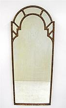 Adam style gesso and giltwood pier mirror, 19th century, The arched mirror plate enclosed within a conforming egg and dart type molded