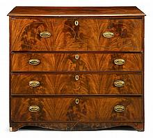 Late George III mahogany inlaid secretaire chest, circa 1800, The rectangular top over double-oval line inlaid drawer front, sliding an