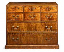 George III walnut and satinwood line inlaid chest, , The rectangular top above six small drawers over two long graduating drawers, rais