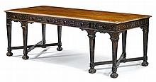 George III Chinese Chippendale style carved mahogany partner's desk, late 19th century, The rectangular top with scroll and leaf carve