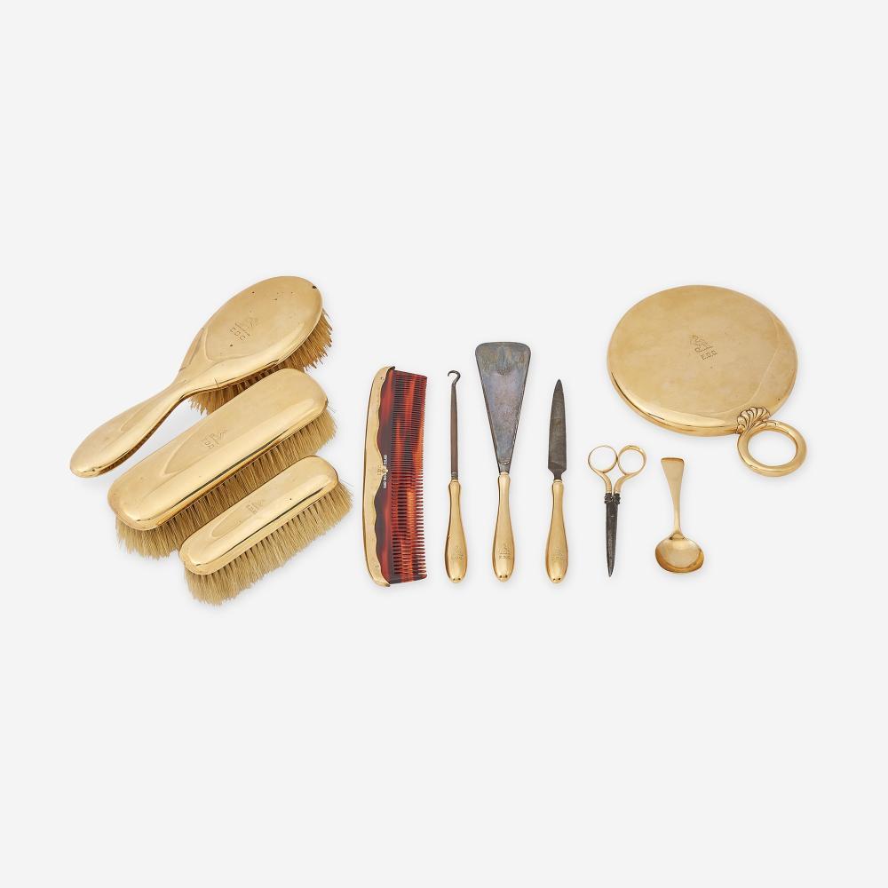 An antique fourteen karat gold and metal vanity set, J.E. Caldwell & Co.