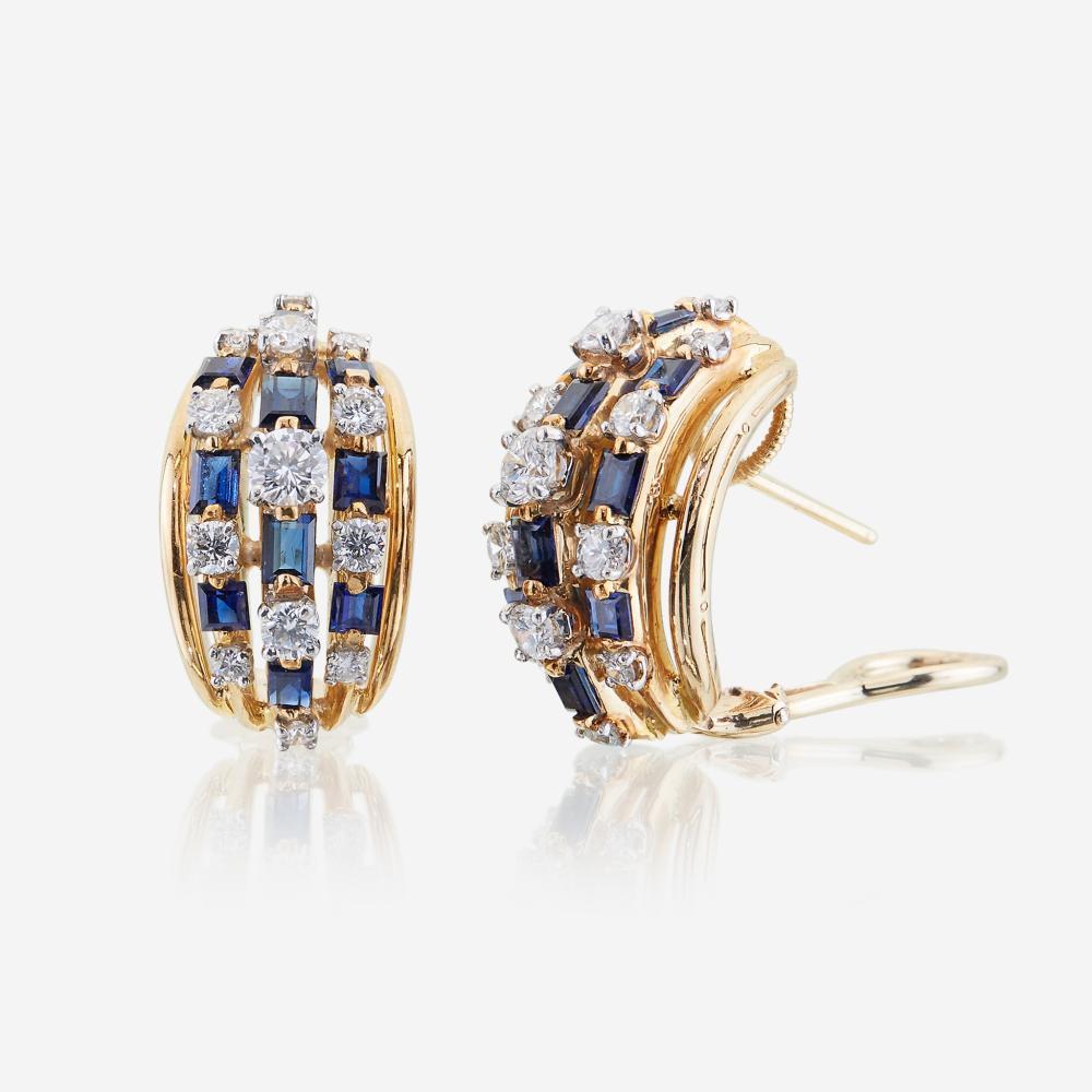 A pair of sapphire, diamond, eighteen karat gold, and platinum earrings, Oscar Heyman