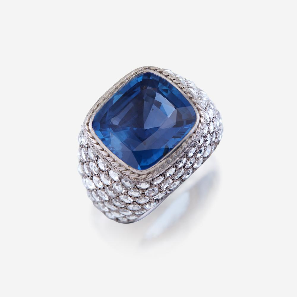 A sapphire, diamond, and platinum ring, R Simantov