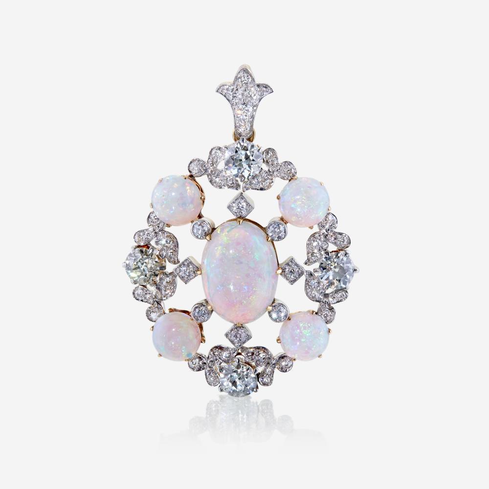 An opal, diamond, and eighteen karat gold pendant, Tiffany & Co.