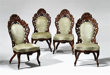 Four rococo revival carved