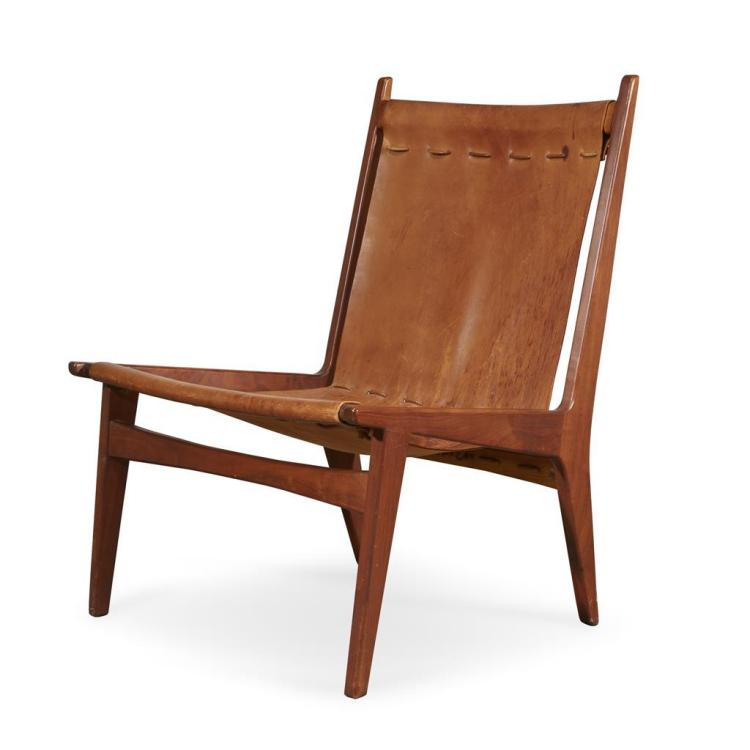 WALKER WEED (AMERICAN, 1918-2014) AND GORDON KEELER (AMERICAN, 1926-2012), LEATHER CHAIR, GILFORD, NEW HAMPSHIRE, CIRCA 1957