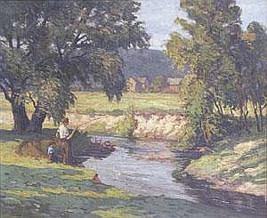 FRANK EDWARD LLOYD (American d. 1945)  BOYS FISHING ON A SUMMERS DAY