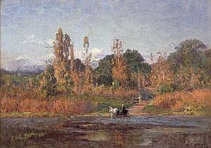 THEODORE CLEMENT STEELE (American 1847-1926)  HORSES AND CARRIAGE FORDING A RIVER IN AN AUTUMN LANDSCAPE